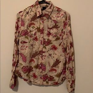 Long Sleeved Flower Button Down Shirts.